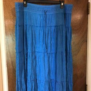 Aqua Tiered Casual Skirt